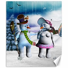 Funny, Cute Snowman And Snow Women In A Winter Landscape Canvas 20  X 24   by FantasyWorld7