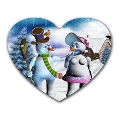 Funny, Cute Snowman And Snow Women In A Winter Landscape Heart Mousepads by FantasyWorld7