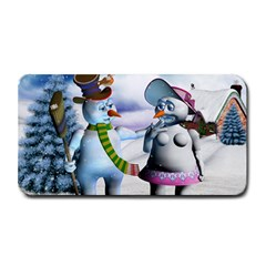 Funny, Cute Snowman And Snow Women In A Winter Landscape Medium Bar Mats by FantasyWorld7