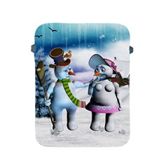 Funny, Cute Snowman And Snow Women In A Winter Landscape Apple Ipad 2/3/4 Protective Soft Cases by FantasyWorld7