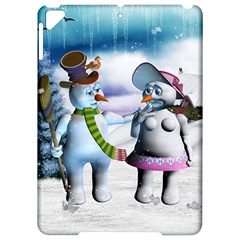 Funny, Cute Snowman And Snow Women In A Winter Landscape Apple Ipad Pro 9 7   Hardshell Case by FantasyWorld7