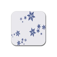 Star Snow Blue Rain Cool Rubber Square Coaster (4 Pack)  by AnjaniArt