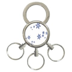 Star Snow Blue Rain Cool 3 Ring Key Chains by AnjaniArt