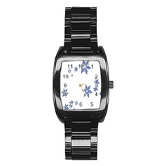 Star Snow Blue Rain Cool Stainless Steel Barrel Watch