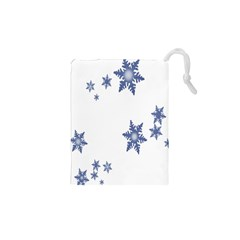 Star Snow Blue Rain Cool Drawstring Pouches (xs)  by AnjaniArt