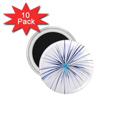 Fireworks Light Blue Space Happy New Year 1 75  Magnets (10 Pack)