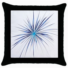 Fireworks Light Blue Space Happy New Year Throw Pillow Case (black) by AnjaniArt