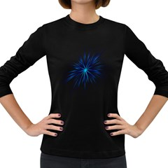 Fireworks Light Blue Space Happy New Year Women s Long Sleeve Dark T Shirts by AnjaniArt