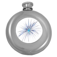 Fireworks Light Blue Space Happy New Year Round Hip Flask (5 Oz)