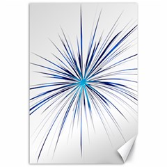 Fireworks Light Blue Space Happy New Year Canvas 24  X 36  by AnjaniArt
