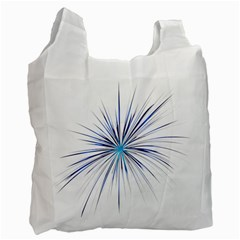 Fireworks Light Blue Space Happy New Year Recycle Bag (one Side) by AnjaniArt