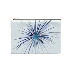 Fireworks Light Blue Space Happy New Year Cosmetic Bag (medium)