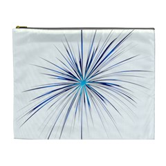 Fireworks Light Blue Space Happy New Year Cosmetic Bag (xl)