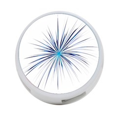 Fireworks Light Blue Space Happy New Year 4 Port Usb Hub (one Side)