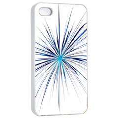 Fireworks Light Blue Space Happy New Year Apple Iphone 4/4s Seamless Case (white)