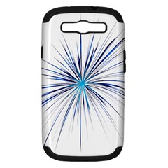 Fireworks Light Blue Space Happy New Year Samsung Galaxy S Iii Hardshell Case (pc+silicone) by AnjaniArt