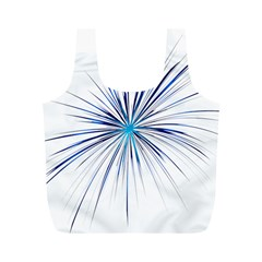Fireworks Light Blue Space Happy New Year Full Print Recycle Bags (m)  by AnjaniArt
