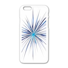 Fireworks Light Blue Space Happy New Year Apple Iphone 6/6s White Enamel Case by AnjaniArt