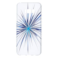 Fireworks Light Blue Space Happy New Year Samsung Galaxy S8 Plus Hardshell Case  by AnjaniArt
