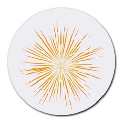 Fireworks Light Yellow Space Happy New Year Round Mousepads by AnjaniArt