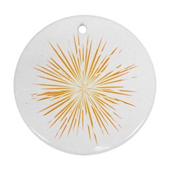 Fireworks Light Yellow Space Happy New Year Ornament (round) by AnjaniArt