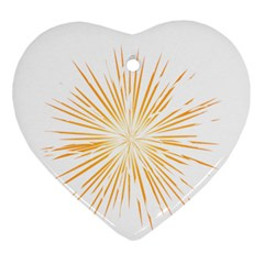Fireworks Light Yellow Space Happy New Year Ornament (heart) by AnjaniArt