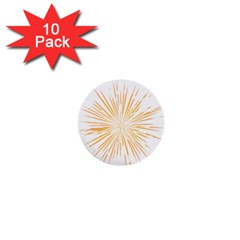 Fireworks Light Yellow Space Happy New Year 1  Mini Buttons (10 Pack)  by AnjaniArt
