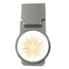 Fireworks Light Yellow Space Happy New Year Money Clips (round)
