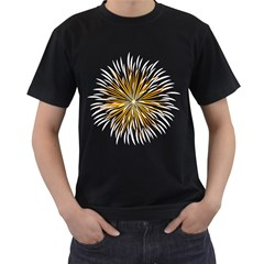 Fireworks Light Yellow Space Happy New Year Men s T Shirt (black) (two Sided)