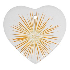 Fireworks Light Yellow Space Happy New Year Heart Ornament (two Sides)