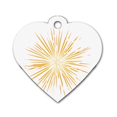 Fireworks Light Yellow Space Happy New Year Dog Tag Heart (one Side) by AnjaniArt
