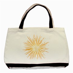 Fireworks Light Yellow Space Happy New Year Basic Tote Bag (two Sides) by AnjaniArt
