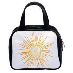 Fireworks Light Yellow Space Happy New Year Classic Handbags (2 Sides) by AnjaniArt