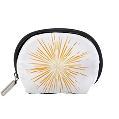 Fireworks Light Yellow Space Happy New Year Accessory Pouches (small)