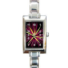 Fireworks Pink Red Yellow Black Sky Happy New Year Rectangle Italian Charm Watch by AnjaniArt