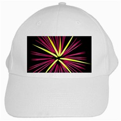 Fireworks Pink Red Yellow Black Sky Happy New Year White Cap
