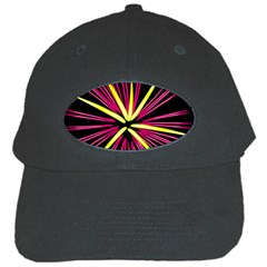 Fireworks Pink Red Yellow Black Sky Happy New Year Black Cap by AnjaniArt