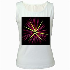 Fireworks Pink Red Yellow Black Sky Happy New Year Women s White Tank Top