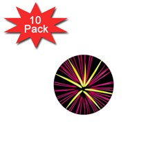 Fireworks Pink Red Yellow Black Sky Happy New Year 1  Mini Magnet (10 Pack)  by AnjaniArt