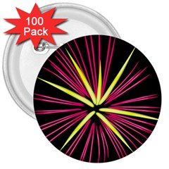 Fireworks Pink Red Yellow Black Sky Happy New Year 3  Buttons (100 Pack)