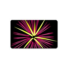 Fireworks Pink Red Yellow Black Sky Happy New Year Magnet (name Card)