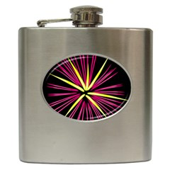 Fireworks Pink Red Yellow Black Sky Happy New Year Hip Flask (6 Oz)
