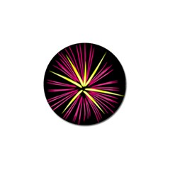 Fireworks Pink Red Yellow Black Sky Happy New Year Golf Ball Marker