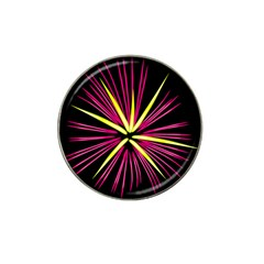 Fireworks Pink Red Yellow Black Sky Happy New Year Hat Clip Ball Marker by AnjaniArt