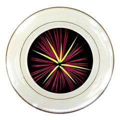 Fireworks Pink Red Yellow Black Sky Happy New Year Porcelain Plates by AnjaniArt