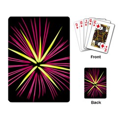 Fireworks Pink Red Yellow Black Sky Happy New Year Playing Card by AnjaniArt