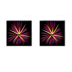 Fireworks Pink Red Yellow Black Sky Happy New Year Cufflinks (square)