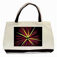 Fireworks Pink Red Yellow Black Sky Happy New Year Basic Tote Bag