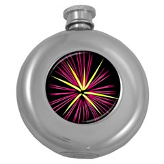 Fireworks Pink Red Yellow Black Sky Happy New Year Round Hip Flask (5 Oz) by AnjaniArt