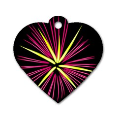 Fireworks Pink Red Yellow Black Sky Happy New Year Dog Tag Heart (two Sides)